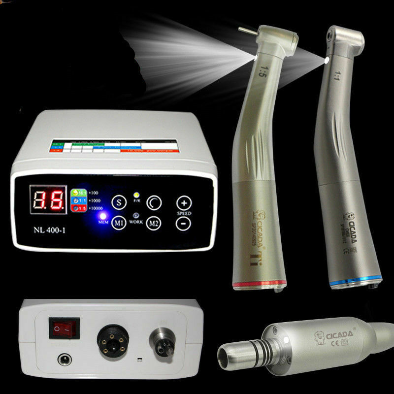 E-TYPE Dental Electric Motor + 1:1 + 1:5 Handpiece Contra Angle High & Low speed