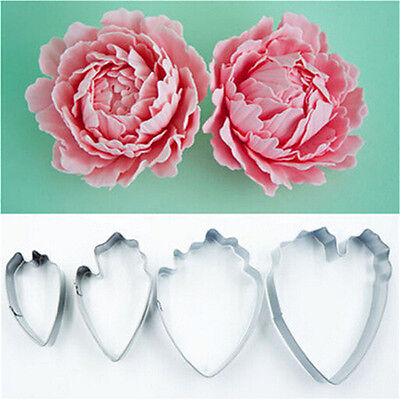 4Pc Peony Flower Cake Fondant Plunger Cutter Decorating Mold Sugarcraft BakingJT