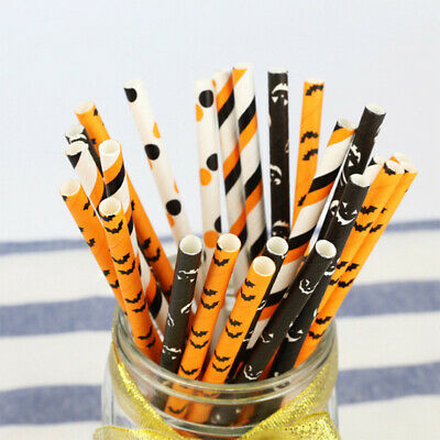 Halloween Paper Straws (25Pcs Halloween Paper Straws Printed Bat Pumpkin Home Party Drinking)