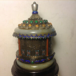 UNIQUE ANTIQUES THE QING DYNASTY SILVER INLAY PAGODA BOX