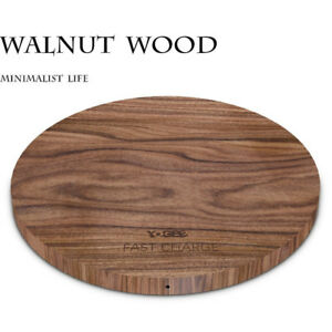 Walnut Wooden Wireless Charger,Qi Fast Wireless Charging Statio