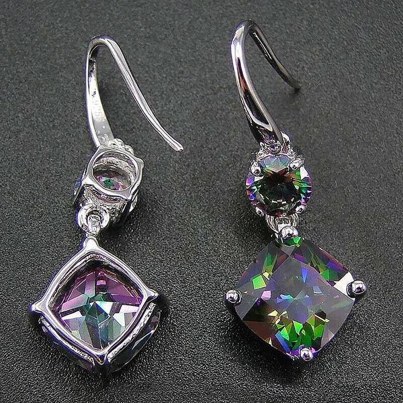 Women Jewelry Mystic Topaz Drop Earrings 925 Silver Earring for Women A Pair/set 2