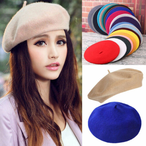 Womens Ladies Floppy Hat Plain Beret Wool Warm French Beret Soft Hats  Fashion 596dc94a09b