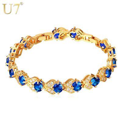 Tennis Armbänder Gold Blau Grün AAA Kubischer Zirkon Weihnachten