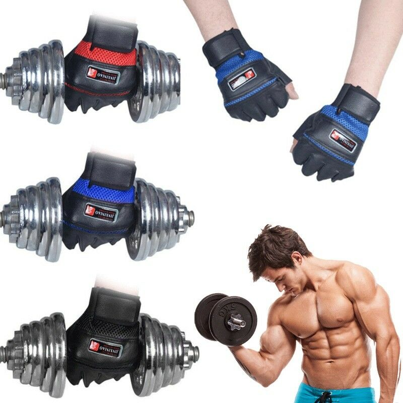Gym Bodybuilding Training Leather Gloves Sports Weight Lifti