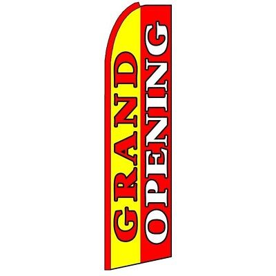 Grand Opening Half Curve Premium Wide Red With Yellow Swooper Flag Come In