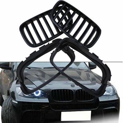 For BMW X5 X5M X6 X6M E70 E71 2007-2013 Matte Black Kidney Grill Grille Pair