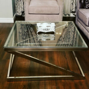 Beautiful glass coffee table & matching  end table