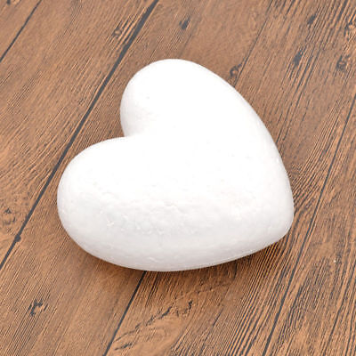 6pc DIY White Polystyrene Heart Shape Foam Mothers Day Valentine's Day Art Craft