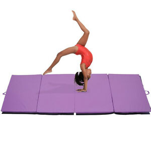 "PurpleGymnastics Mat 4'x10'x2"" Gym Folding Exercise Aerobic"