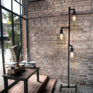 Industrial floor lamp ebay antique industrial steampunk floor lamp vintage 3 cage pipe light aloadofball Image collections