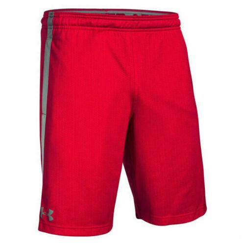 Under Armour Men`s Heatgear Tech Mesh Mens Red Gym Sports Shorts-medium-n