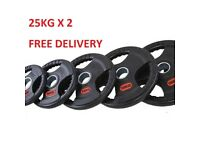 Rubber Coated Tri-Grip Olympic 25kg x 2 Plates