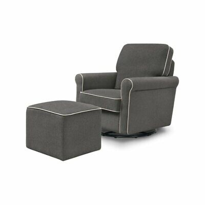 DaVinci Maya Swivel Glider and Ottoman in Dark Gray with Cream Piping