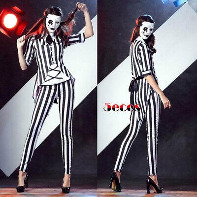 Movie Beetlejuice Women Stripe Graveyard Ghost Cosplay Costume Halloween Outfit ](Beetlejuice Halloween Costume Female)