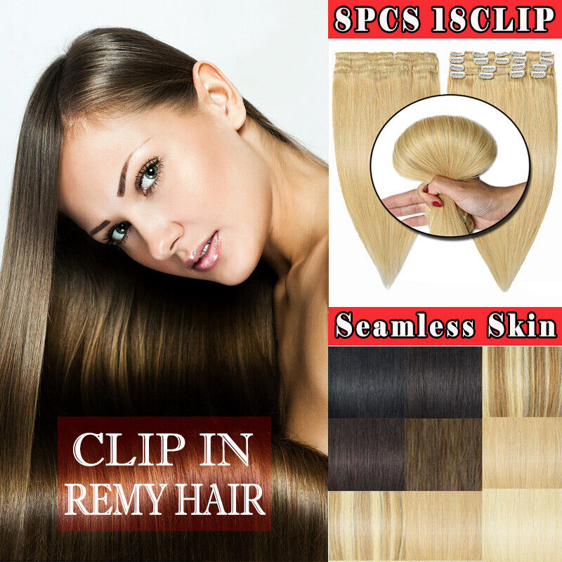 8pcs 100% Remy Clip In Human Hair Extensions Full Head Best