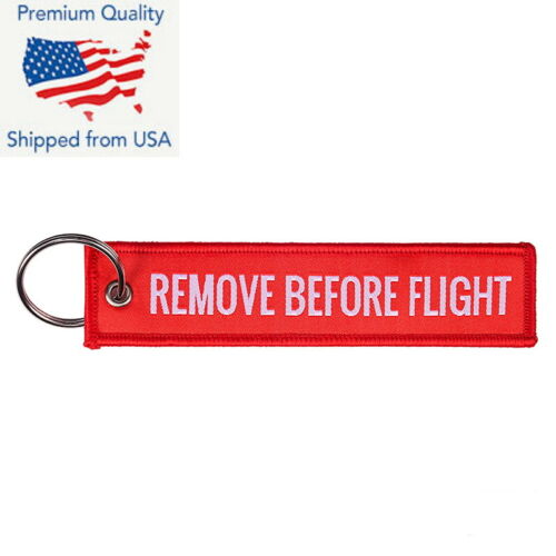 Remove Before Flight Woven Keychain Ring Red Chain Keychain Tag