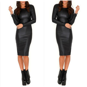 Womens Wet Look Midi PVC Faux Leather Dress Bodycon Long Sleeves Fitted Black