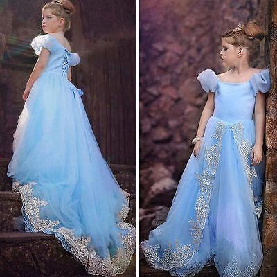 Mädchen Disney Cinderella Prinzessin Kleid Kinder Tüll Cosplay Kostüm Gr.*