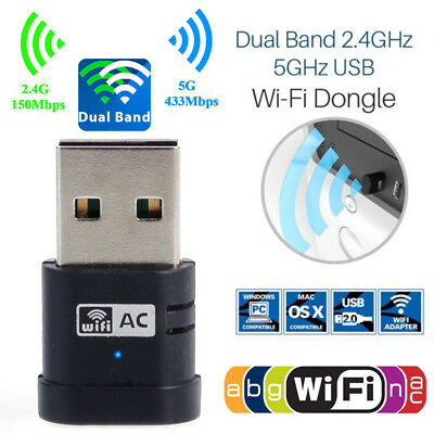 Brand New Wireless Dual Band 2.4G/5GHz 802.11AC USB Wifi Dongle Network Adapter