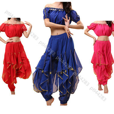 Belly Dance Top Wave Harem Pant Outfit Halloween Carnival Festival Fancy Costume ()