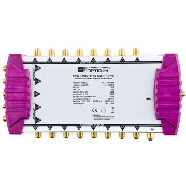 Sat Multischalter 16 Teilnehmer DIGITAL Opticum OMS 5/16 Switch Verteiler FullHD