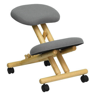 New Mobile Wooden Ergonomic Kneeling Chair In Gray Fabric