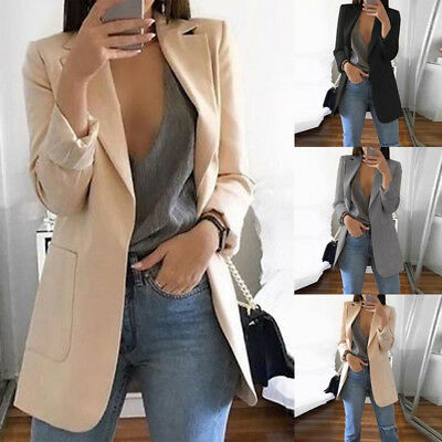 - US New Women Ladies Long Sleeve Slim Blazer Suit Coat Workout Jacket Casual Tops