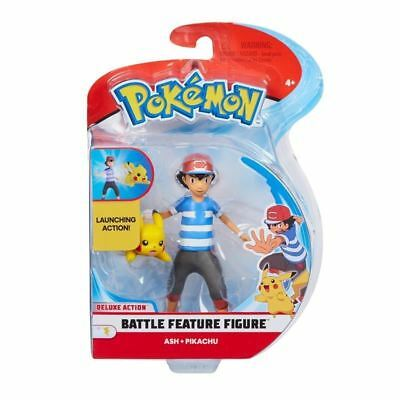 "Pokemon ~ Battle Feature Figure Pack ~ Ash & Pikachu ~ 4.5"" Figure Character"