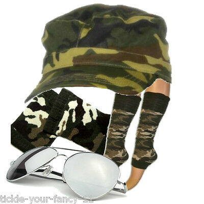 Women's Army GI Jane Cap Leg Warmers Wristbands Glasses Fancy Dress Costume Hen - Gi Jane Kostüm