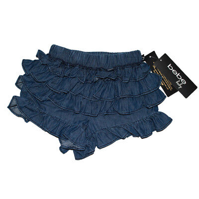 BEBE Size 24 Months Ruffled Denim Shorts Blue Beautiful New NWT Navy 100% Cotton