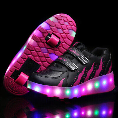 Kids LED Shoes Roller Skate Shoes Fashion Wheels Sneakers Girls Boy Glow in Dark