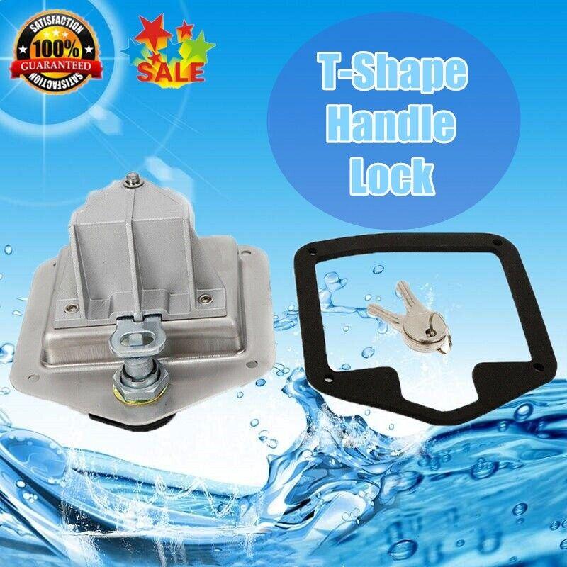 Stainless Steel Folding T Shape Handle Lock Tool Box + Keys Truck Trailer Camp