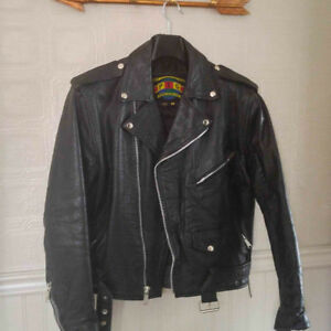 Men's Vintage Leather Biker Jacket Size M