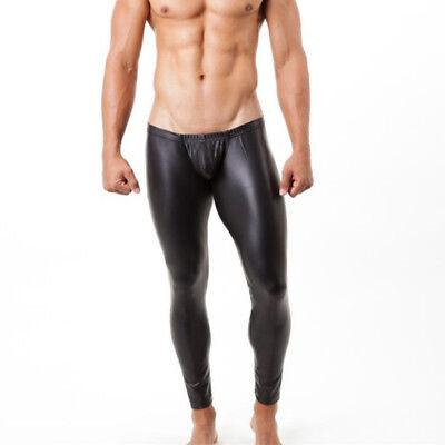 Men Faux Leather Leggings Metallic Stretch Low Waist Pants Trousers Slim Fashion (Faux Leather Pants For Men)