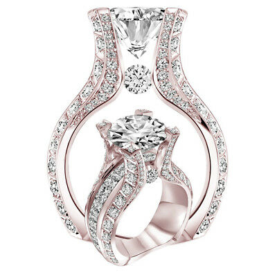 (Noble Fashion Women 18K Rose Gold Filled White Sapphire Wedding Jewelry Ring)