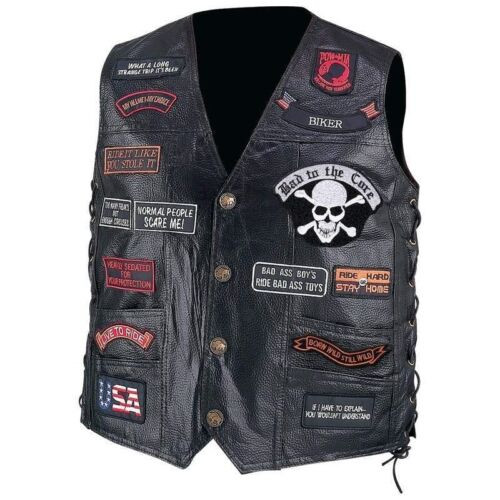 LEATHER VEST w/ 23 Patches Mens Black Motorcycle US Flag Eag