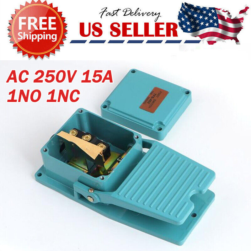 Foot Switch Cast Aluminum AC250V 15A SPDT Electric Industrial Pedal Momentary US