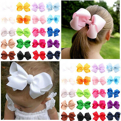 20Pcs Baby Kid Children Girl Bow Ribbon Alligator Hair Clip Hairpin Accessory g