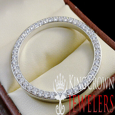 Rolex Watch Custom Bezel 30mm 10K Solid White Gold Over Real Silver Simu Diamond