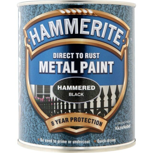 Hammerite Hammered Direct to Paint 2.5 Litre Black, SIlver, White, Dark Green