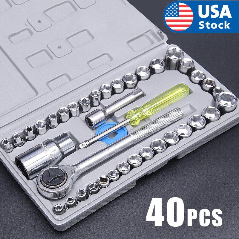 40 PCS SAE/METRIC 1/4″ & 3/8″ DR. Socket Set Ratchet w/ Case Hand Tools NEW Hand Tools