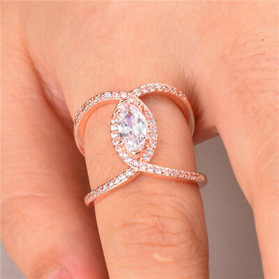 (Rose Gold Filled Wedding Rings for Women Marquise Cut White Sapphire Ring Size 6)