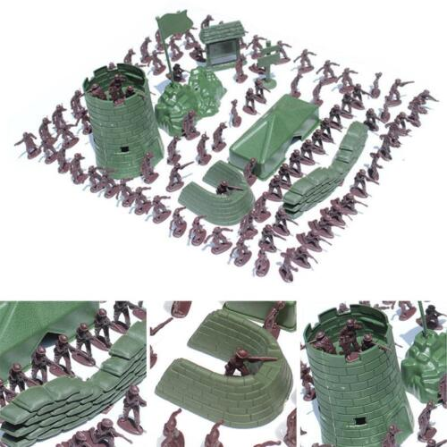100 pcs Military Plastic Toy Soldiers Army Men 4cm Figures & Accessories Playset