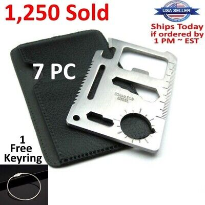 Bottle Openers In Bulk (7 Credit Card Knives, 11 in 1 Multi Tool wallet thin pocket survival micro)