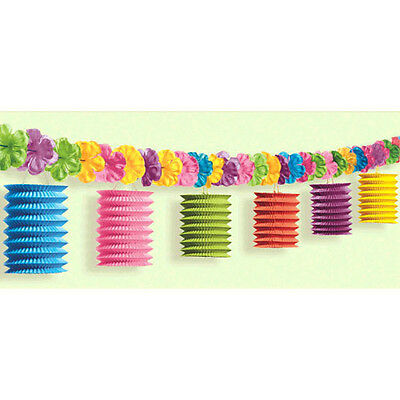 Tiki Lounge Flowers & Lantern Garland Hawaiian Summer Luau Beach Birthday Supply - Lantern Garland
