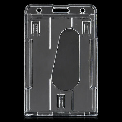 Transparent Vertical Multi Id Card Badge Holder Clear Cover Hard Plastic 10x6cm