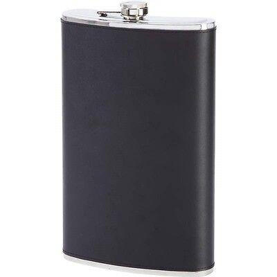 Big 64 oz Black Leather FLASK Stainless Steel Party Screw Cap Liquor 1/2 Gallon