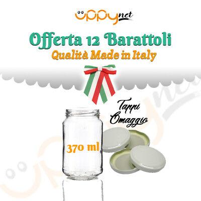 OFFERTA 12 Barattoli vasi in vetro per marmellate omogeneizzati conserva 370 ml