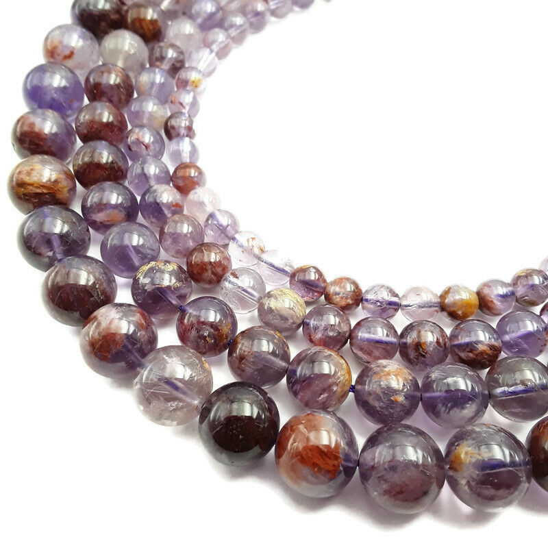 """Natural Super Seven Smooth Round Beads 6mm 8mm 10mm 12mm 15.5"""" Strand"""